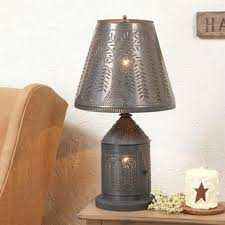 Lantern Table Lamp Punched Tin Lantern Table Lamp Candelabra Base W Shade In