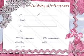 wedding gift card pink lace wedding gift certificate template