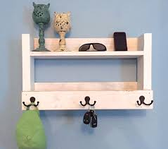 rustic entryway shelf key holder mail organizer rustic white