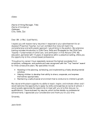 Certification Letter From Employer Preschool Assistant Cover Letter