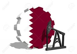 Qatars Flag Cog Wheel With Oil Pump Textured By Qatar Flag Heavy And Mining