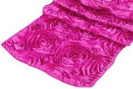 pink rosette table runner wedding rosette satin table runner fuchsia at cv linens cv linens