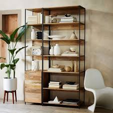 Storage Bookcase With Doors Industrial Modular 17 Bookshelf West Elm