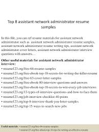 Network Analyst Resume Top8assistantnetworkadministratorresumesamples 150715031936 Lva1 App6892 Thumbnail 4 Jpg Cb U003d1436930418