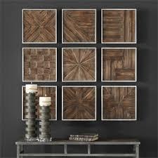 rustic wood squares collage wall art u2013 set of 9 scenario home
