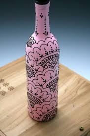 Design For Vase Painting Hand Painted Wine Bottle Vase Up Cycled Turquoise Idea Recycle