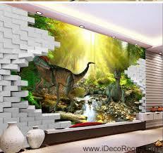 3d jurassic world dinosaur forest stream sunshine brick wallpaper