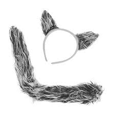 halloween headbands amazon com 2 sets of wolf ears u0026 tails 2 sets of faux fur grey