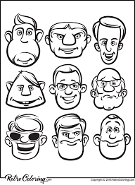 comic men faces coloring retrocoloring