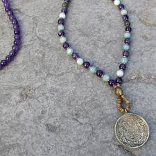 bead necklace with pendant images Communication and healing amethyst and amazonite beaded necklace jpg