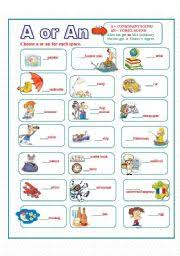 esl worksheets for beginners articles a or an