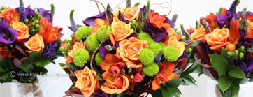 wedding flowers october real weddings lindsay s purple and orange wedding flowers