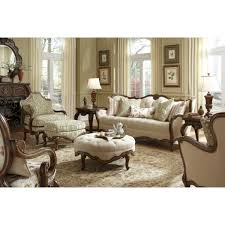michael amini lavelle melange wood trim tufted sofa living room set