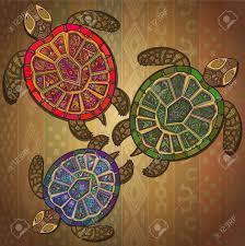 background pattern with three turtles animal ornamental