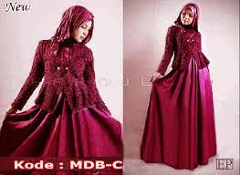 blazer wanita muslimah modern mdb c maxi dress dengan blazer merah marun baju muslim wanita