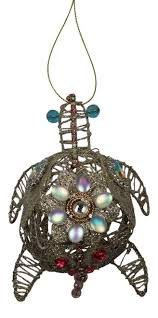 jeweled glittery seahorses wired ornaments set