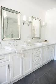 Gray Bathroom Cabinets Chic Bathroom Design With White Marble Countertops And Navy
