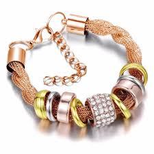 metal bracelet images Entwined rose gold metal bracelet pandoras box inc jpg