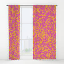 Pink And Orange Curtains Succulent St Pink Orange 315 Window Curtains By