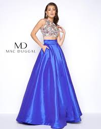 high neck two piece prom dress mac duggal 85640m
