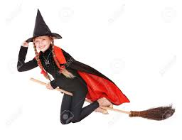 little in costume halloween witch in black dress and hat