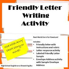 friendly letter writing activity works with any novel or short story