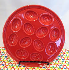 deviled egg serving plate scarlet egg tray fiestaware hlc deviled egg