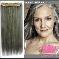 salt and pepper hair colour clip in hair extension straight hair 60 cm 24 color gray pepper