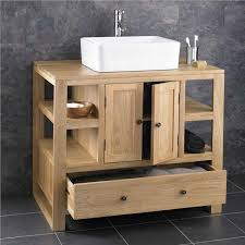 46cm x 46cm freestanding solid oak bathroom cabinet sink basin