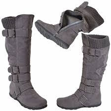 womens boots rubber sole s knee high mid calf boots ruched suede knitted calf buckles