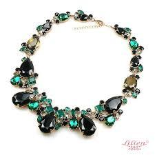 emerald green fashion necklace images D j vu necklace emerald green with black lilien czech jpg