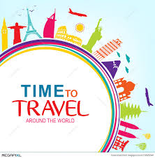 colorful time to travel around the world with space for text