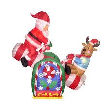 three posts 4 foot animated santa clause and reindeer teeter