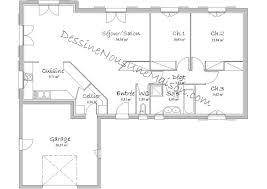 plan maison en l plain pied 3 chambres plan maison plain pied gratuit plein 90m2 13 de traditionnelle 3