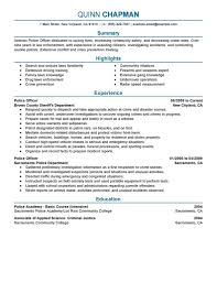 Resume Sample Objectives Entry Level by Office Police Officer Resume Template