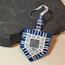 ready to ship unique handmade mosaic silver blue dreidel