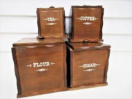 vintage wooden canister set wood canisters kitchen storage