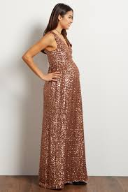 maternity evening dresses gold sequin v neck sleeveless maternity evening gown
