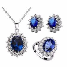blue stone necklace earrings images Brides wedding fashion crystals stone silver plated african jpg
