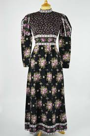 1970s vintage dress by dolly day black with purple floral design