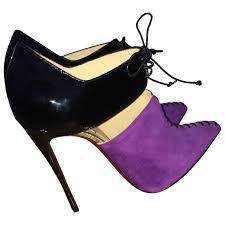 purple plain suede christian louboutin ankle boots vestiaire