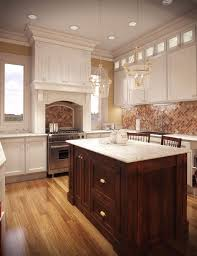 wood cabinet and two lamp chandelier above small brown kitchen