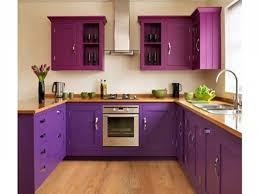 kitchen design ideas in purple theme with orchid purple wall