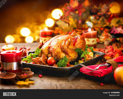 thanksgiving table with turkey roasted turkey thanksgiving table image photo bigstock