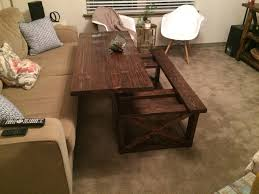 coffee tables astonishing dark brown rustic wood litf top