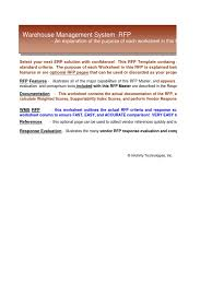 warehouse management software wms system selection rfp template