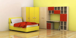 simple kids bedroom design features yellow single bed and corner