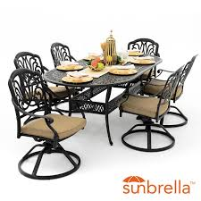 oval aluminum patio table rosedown 7 piece cast aluminum patio dining set with swivel rockers