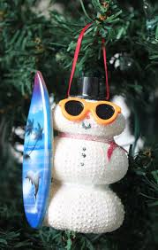 surfer white sea urchin snowman ornament seashell