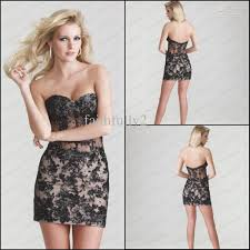 black cocktail dress short sweetheart beaded lace applique see